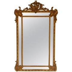 French Antique Mirror Napoleon III Gold Leaf