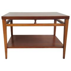 "Mid-Century Modern Walnut and Rosewood End Table ""Tuxedo"" by Lane"