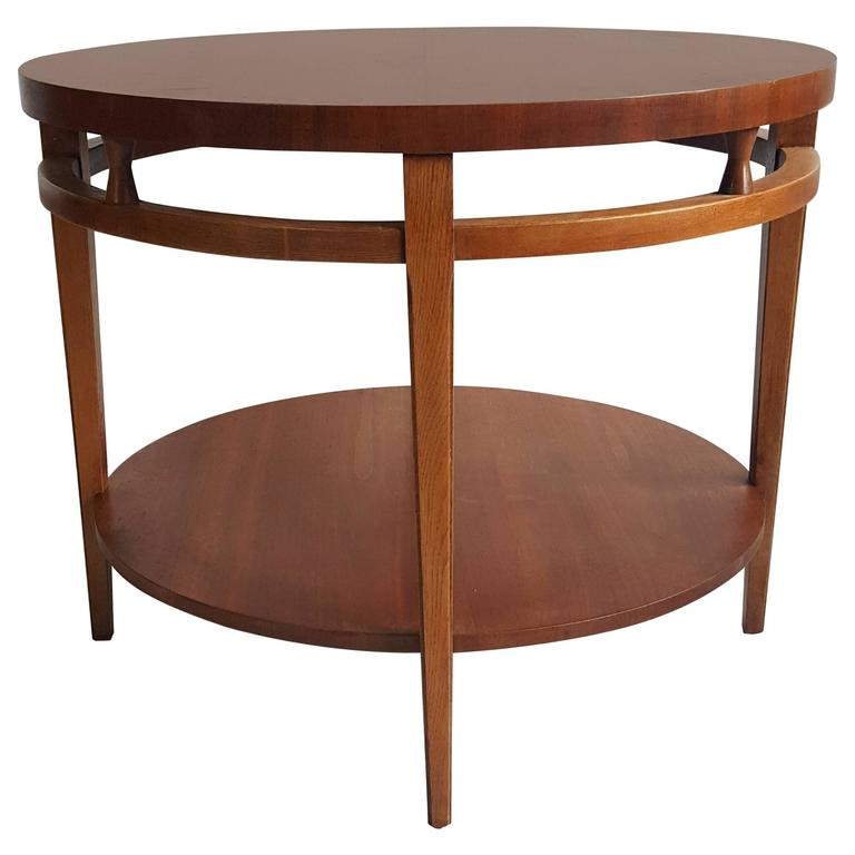 "Modernist Walnut and Rosewood Lamp Table 'Tuxedo"" by Lane 1"