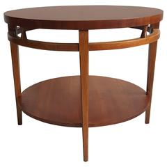 "Modernist Walnut and Rosewood Lamp Table 'Tuxedo"" by Lane"