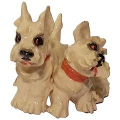 Sculpture with Two Dogs White Terrier