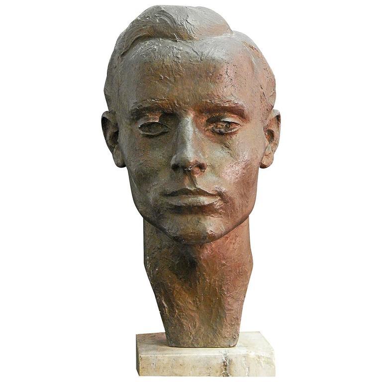 """Head of Young Man,"" Striking, Unique Bronze Sculpture by Brandis, 1947"