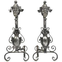 Pair of Figural Andirons in Polished Steel