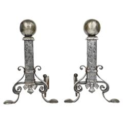 Pair of Hammered Polished Steel Andirons