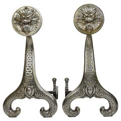 Pair of Dragon Face Aesthetic Andirons
