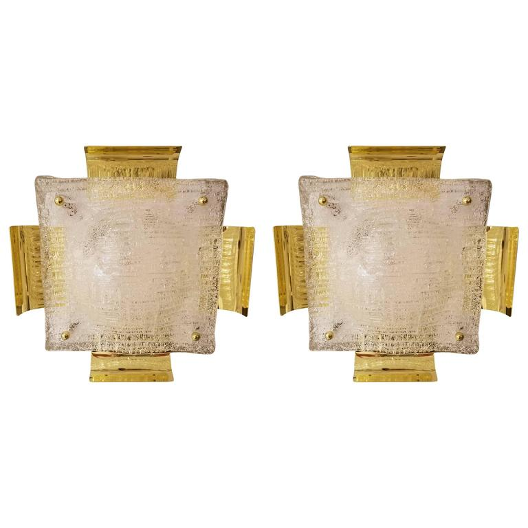 Pair of Kalmar Austrian Mid-Century Brass and Glass Sconces For Sale