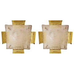 Pair of Kalmar Austrian Mid-Century Brass and Glass Sconces
