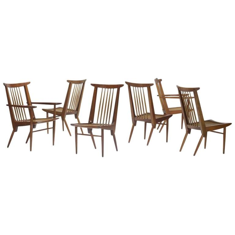 George Nakashima Dining Chairs, USA, 1950s For Sale
