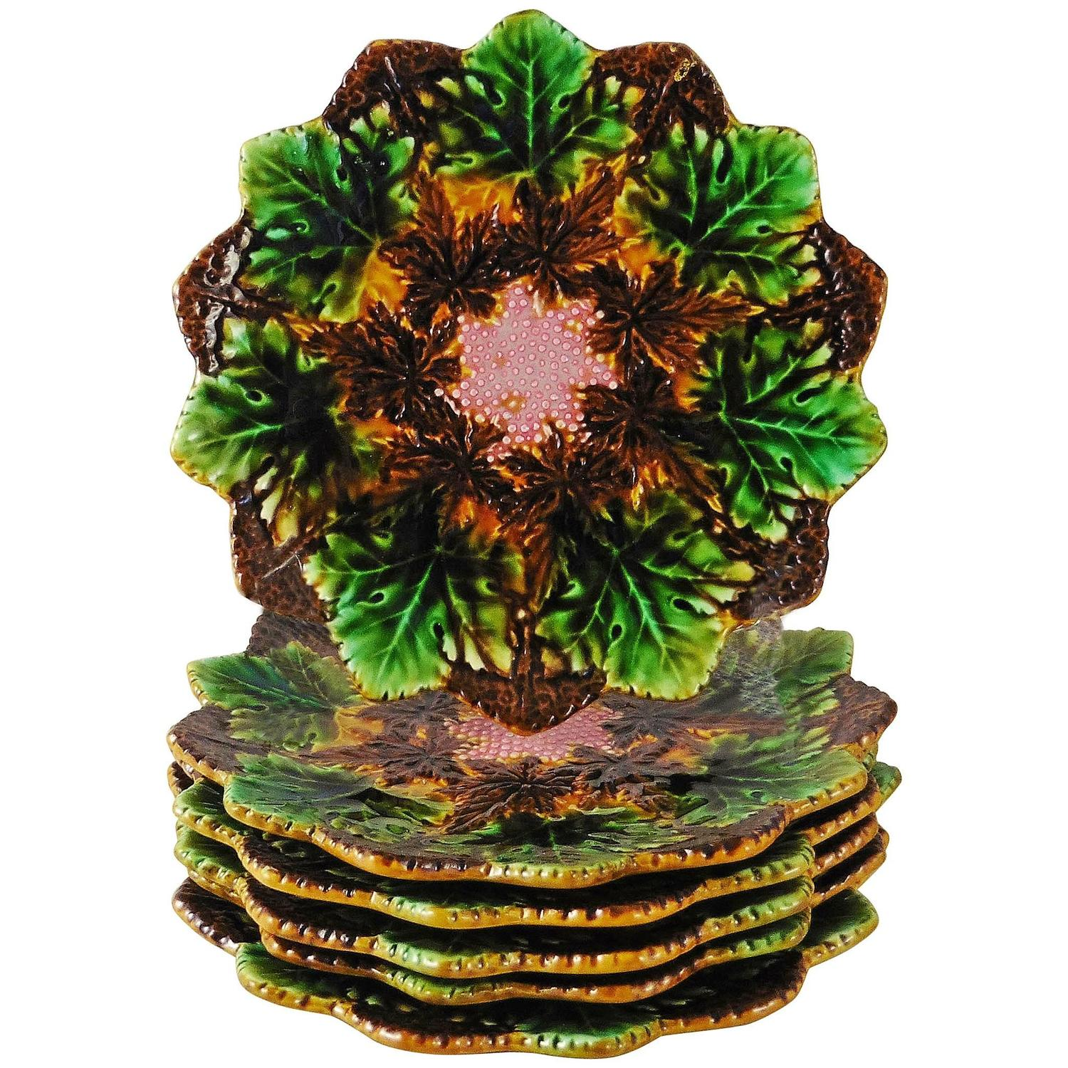 Set Of Six Majolica Flower And Leaves Plates Villeroy And