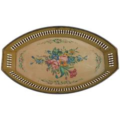 French Yellow Tole Tray with Flowers