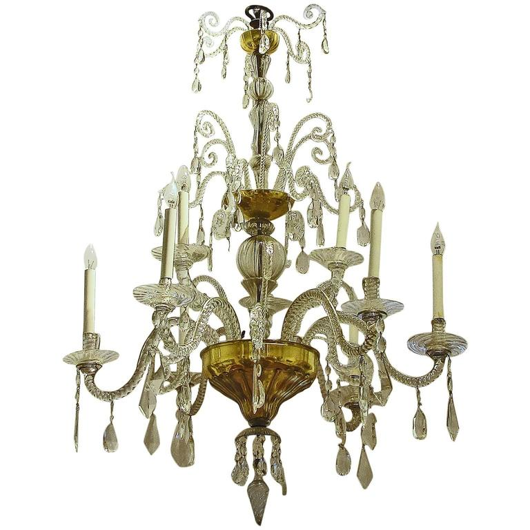 mid 18th century tuscan cut and blown glass gilded nine branch chandelier for sale at 1stdibs. Black Bedroom Furniture Sets. Home Design Ideas