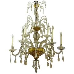 Mid-18th Century Tuscan Cut and Blown Glass Gilded Nine Branch Chandelier
