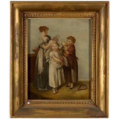 Unusual Portrait of French Nanny, Children and Cat in a Hat, 19th Century