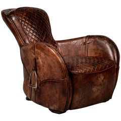 Saddle Old Brown Armchair in Genuine Vintage Brown Leather