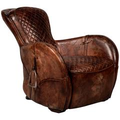 Saddle Old Brown Armchair in Genuine Vintage Brown Leather