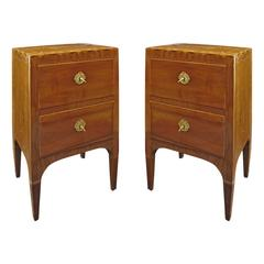 Tuscan 18th Century Walnut Bedside Tables with Inlay in Olive and Cherrywood