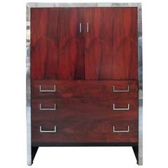 Milo Baughman Chrome and Rosewood Tall Doored Chest