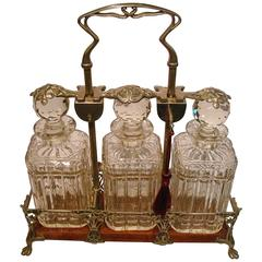 Antique Art Nouveau Brandy Whisky Tantalus Decanter Set, 1900s