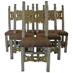 Set of Six 17th Century Italian Carved and Painted Solid Walnut Wood Chairs