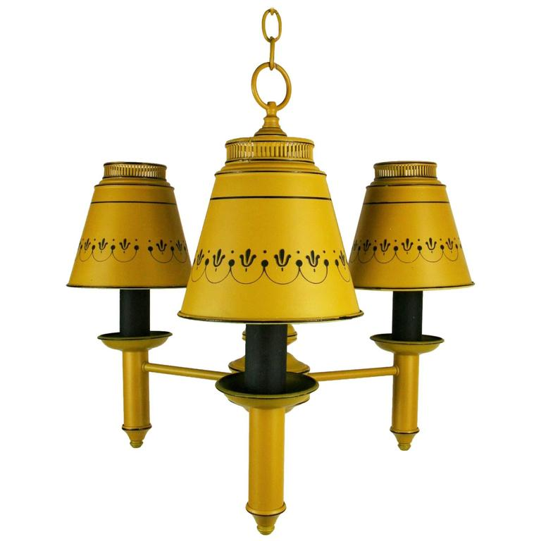 Tole Three-Light Chandelier
