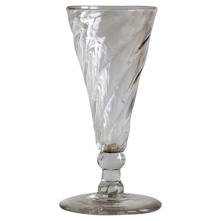 midgeorgian dwarf ale drinking glass wrythen bowl handblown circa