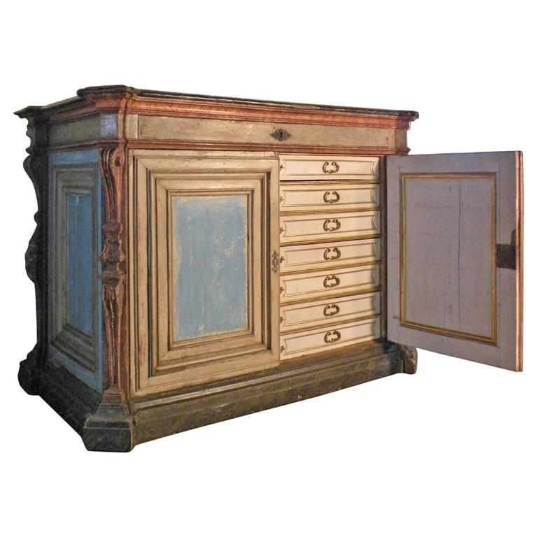 Large Italian Baroque 17th century Painted Cabinet Fitted with Drawers