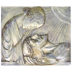 Early 1900 Large Art Nouveau Bronze Wall Plaque the Pieta' by Sylvain Norga