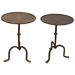 Great Pair of Iron Side Tables with Gilt Finish