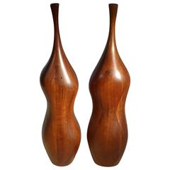 Tall Organic Mid century Daniel Loomis Valenza Shaped Walnut Salt and Pepper Mil