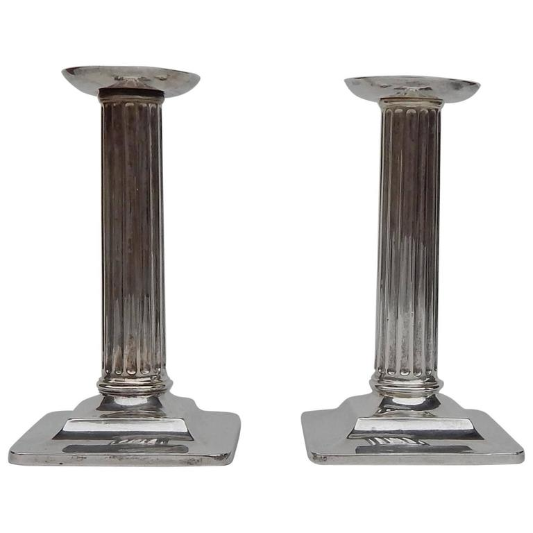 Corinthian Column Style Tiffany Sterling Candlesticks For