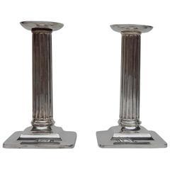 Corinthian Column Style Tiffany Sterling Candlesticks