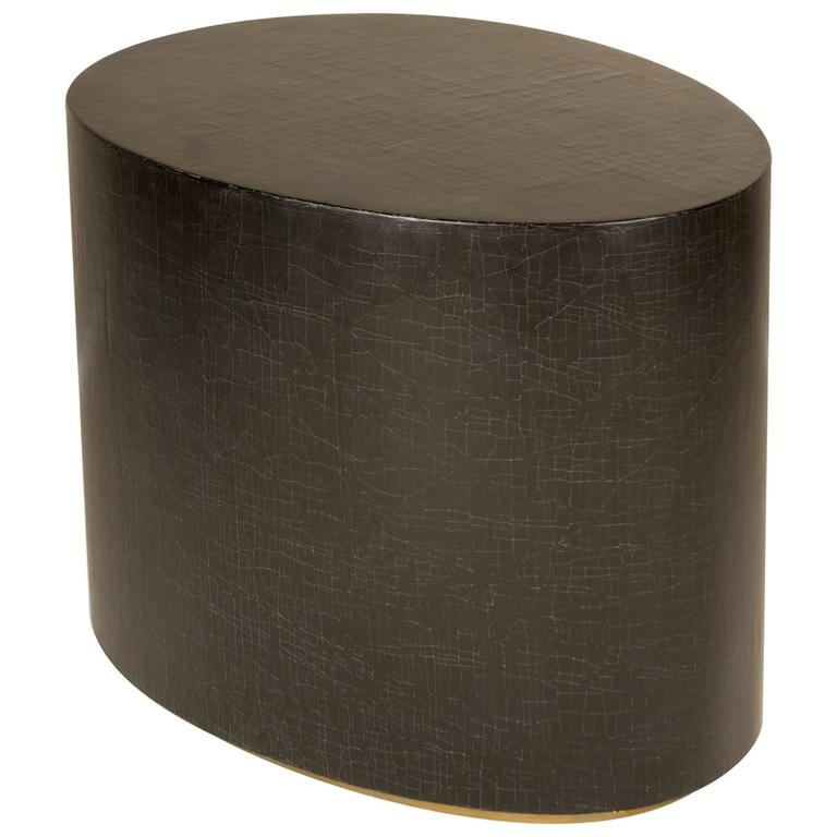 Egg Shaped Side Table, in exclusive Linen Crackle with  Brass Detail on Base