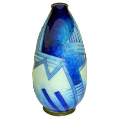 Camille Faure Art Deco Copper Enamel Geometric Design Vase