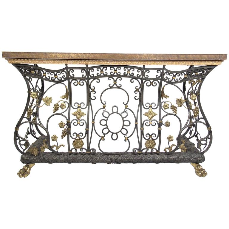 Ornate Iron, Brass And Bronze Console Table 1