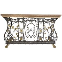 Ornate Iron, Brass and Bronze Console Table
