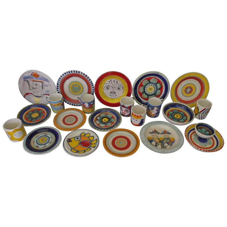 22 Pieces Lot 1960s DeSimone Italian Pottery Dishes For Sale  sc 1 st  1stDibs : italian dinnerware set - Pezcame.Com