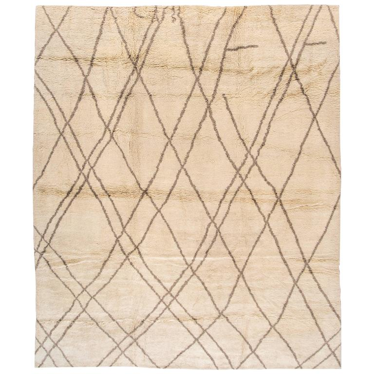 Very Fine Beige Moroccan Rug For Sale At 1stdibs
