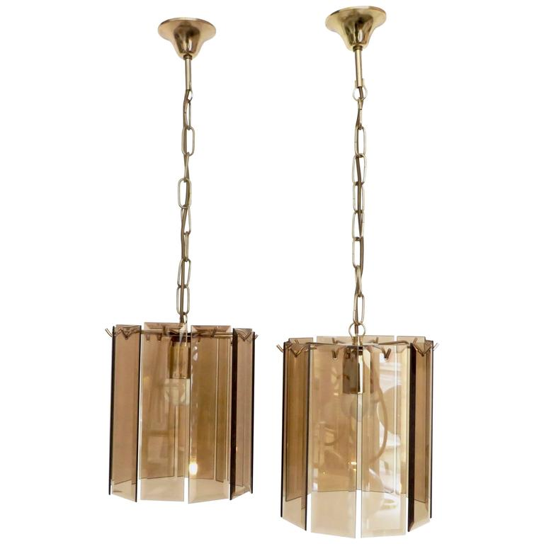 Pair of amber beveled italian glass chandeliers with brass details pair of amber beveled italian glass chandeliers with brass details for sale aloadofball Images