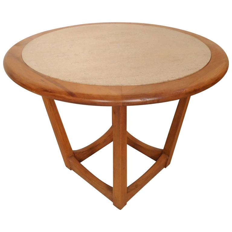 Round Travertine Top Side Table