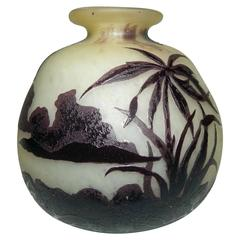 Galle French Cameo Glass Cabinet Vase, Scenic