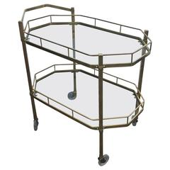 Mid-Century Pilished Brass and Glass Two-Tier Tea Cart