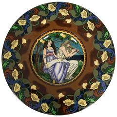 British Art Nouveau Period Wall Plate by Frederick Rhead for Foley, circa 1900