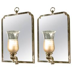 Maison Jansen Chic Pair of Neoclassic Silver Bronze Frame Mirrored Sconces