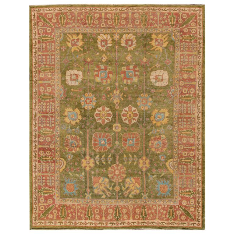 Very Fine Turkish Green Oushak Rug For Sale At 1stdibs