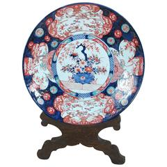 Large 19th Century  Imari Pottery Charger with Display Stand