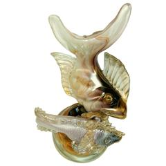 Vintage Italian Glass Double Fish Sculpture with Gold Fleck
