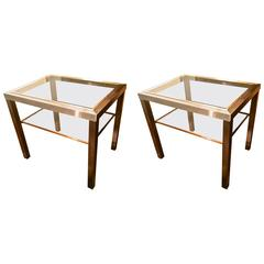 Guy Lefevre Pair of Pure Two Tiers Side Table in Brushed Steel and Bronze
