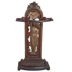 Victorian Stick Stand of Art Nouveau Maiden