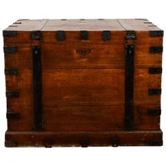 Antique English Iron-Bound Solid Oak 'Silver Chest'
