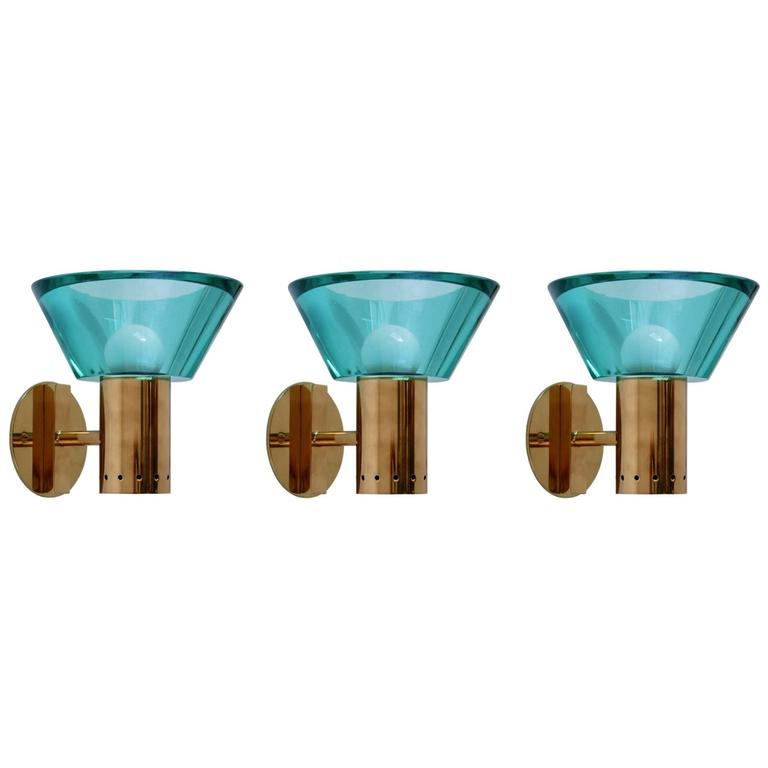Three Emerald Seguso Sconces